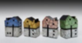 houses, raku, clay, ceramics, colour, set
