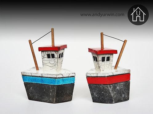 handmade ceramic Raku fishing boat