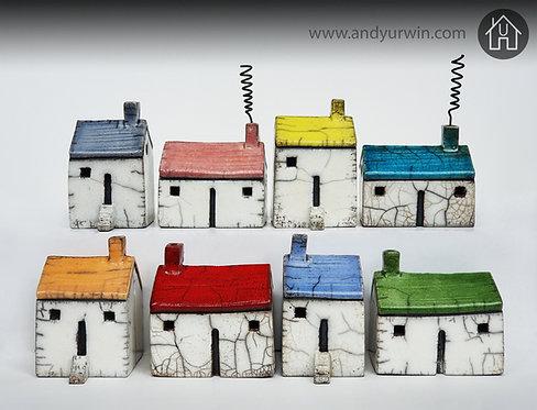 Medium handmade Raku houses with colourful roofs