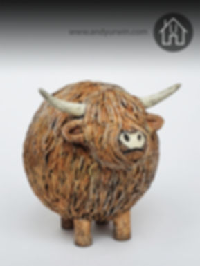 Handmade Ceramic Raku Highland Cow