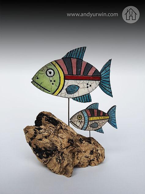 mum & baby fish on driftwood