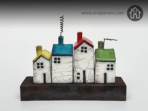 Raku House Set with colourful roofs on Ceramic Base