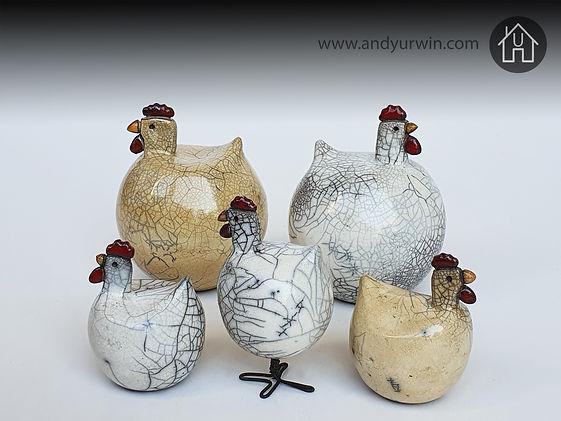 Handmade ceramic Raku chickens