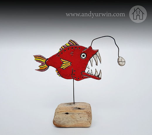 anglerfish on driftwood