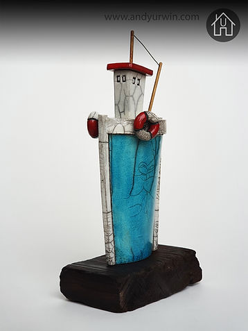 boat, trawler, fishing, lifesaver, handmade, raku, ceramics,clay, wood, base