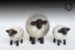 Handmade ceramic Raku sheep and lambs