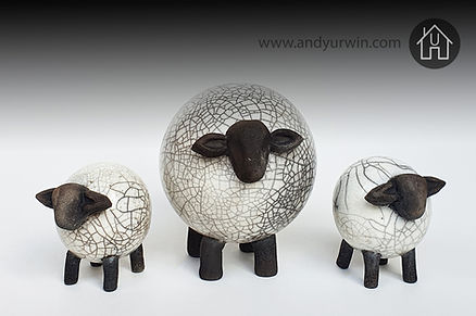 Handmade ceramic Raku sheep and lambs