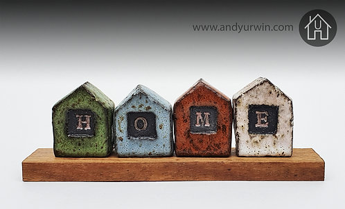 Set of four ceramic houses