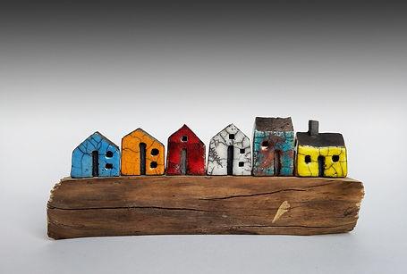 Handmade ceramic Raku houses