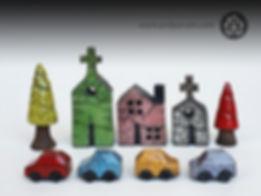 Tiny ceramic Raku cars