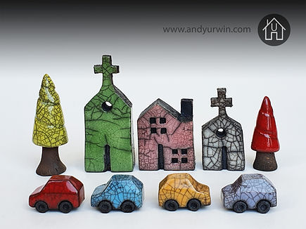 Tiny ceramic Raku cars