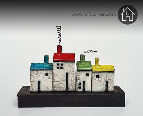 Handmade ceramic Raku house set with colourful roofs