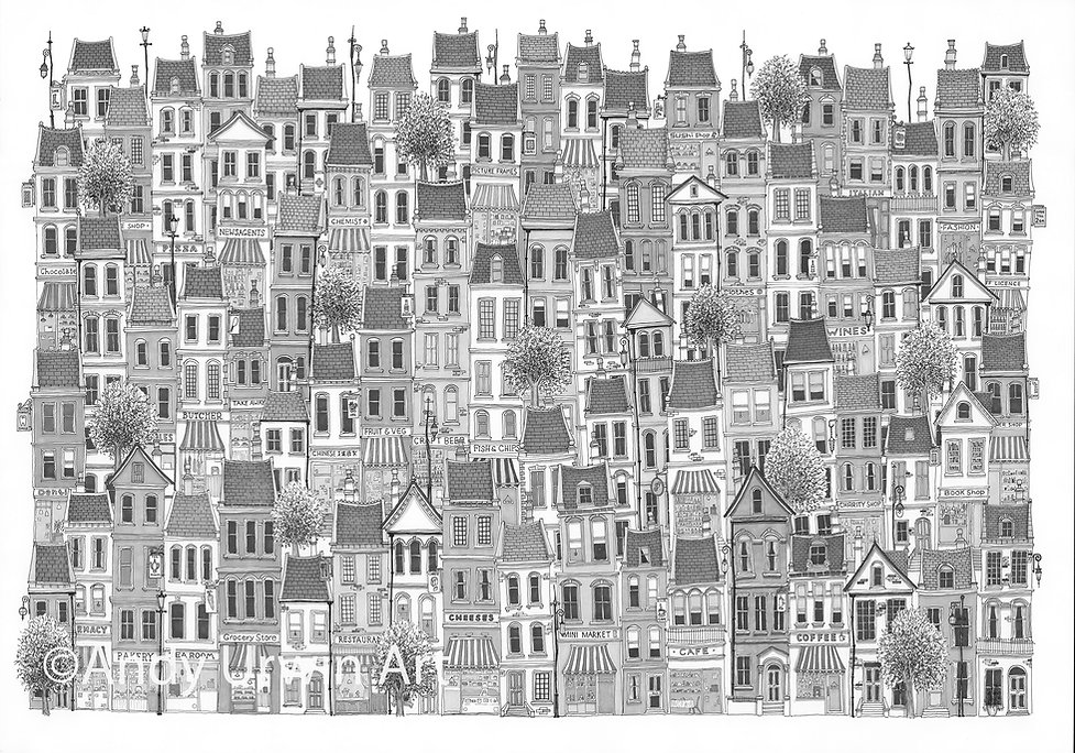 art town city pen & ink