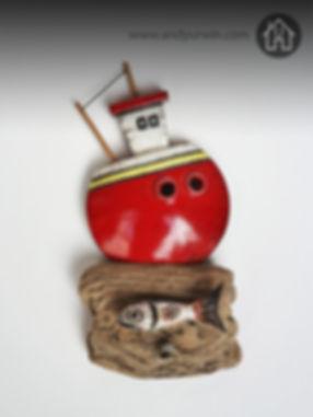 wall mounted ceramic Raku red boat