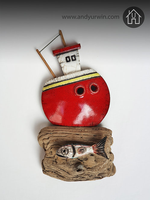 Red boat with fish on driftwood (Wall mounted)