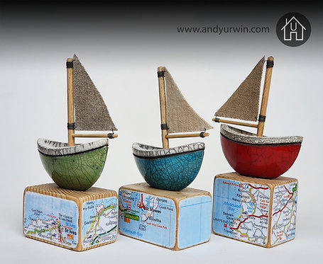Raku sailboat on wooden base - Cornwall inspired