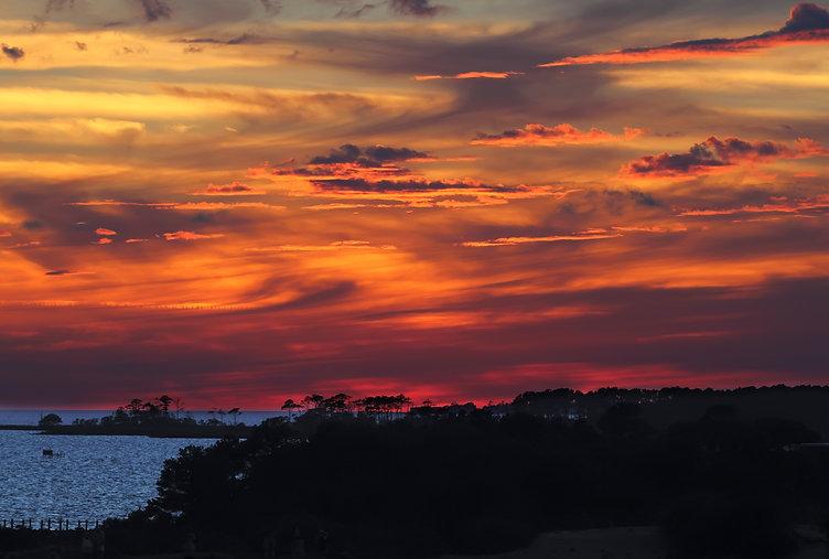 Dramatic, coloful sunset over Albemarle