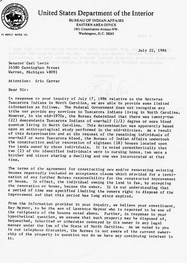 7.22.86 letter to Sen Levin regarding Tu