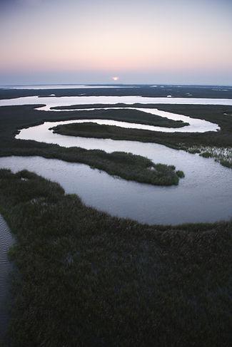 Aerial scenic view of winding waterway i