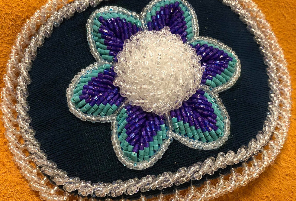 Raised Flower Beadwork Barrette