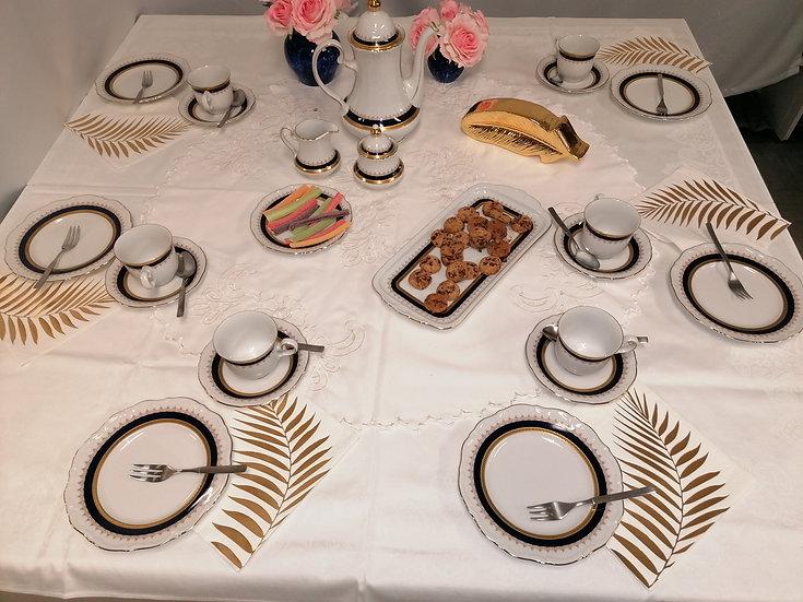 Coffee Table in Kobaltblau mit Goldrand