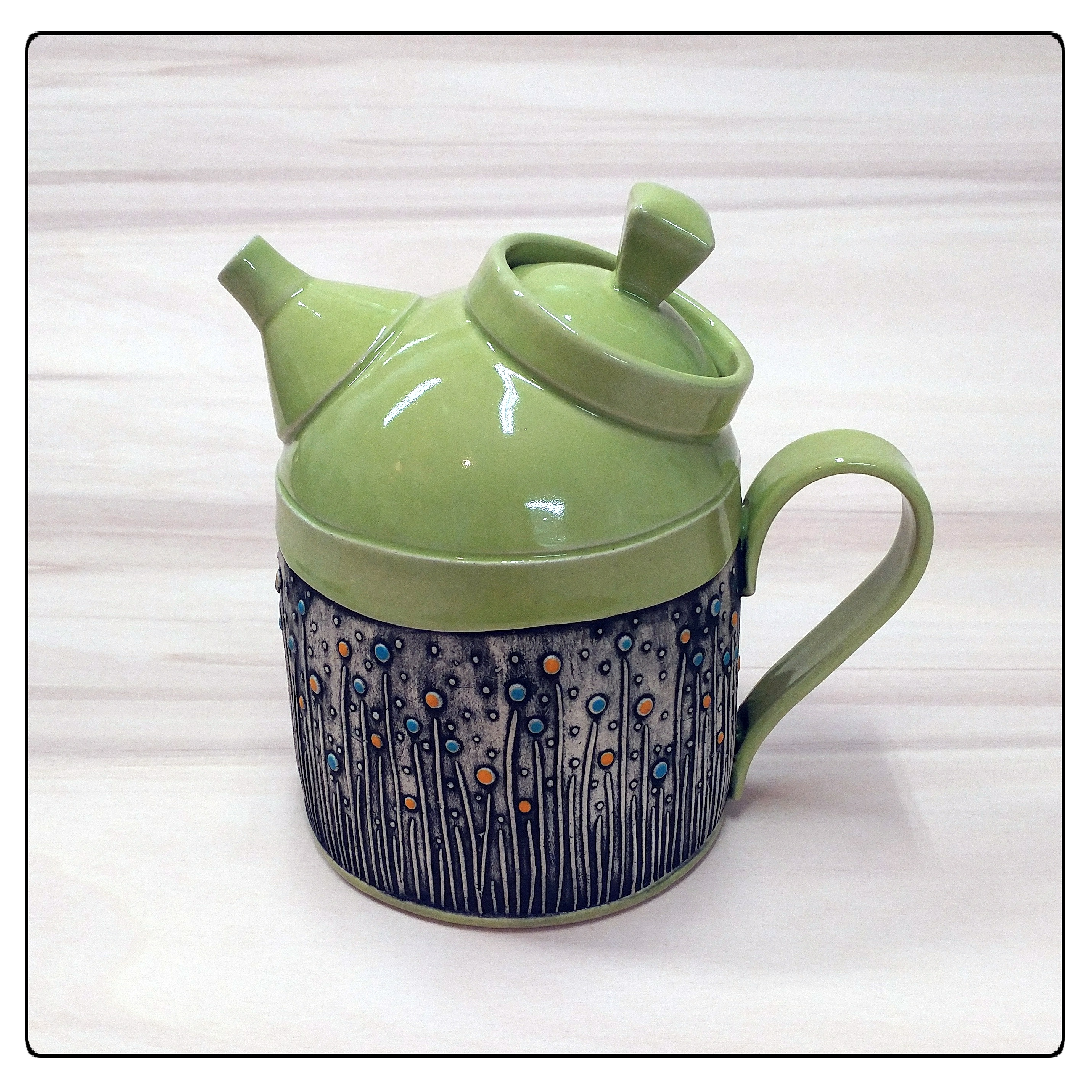 Green Fancy Teapot