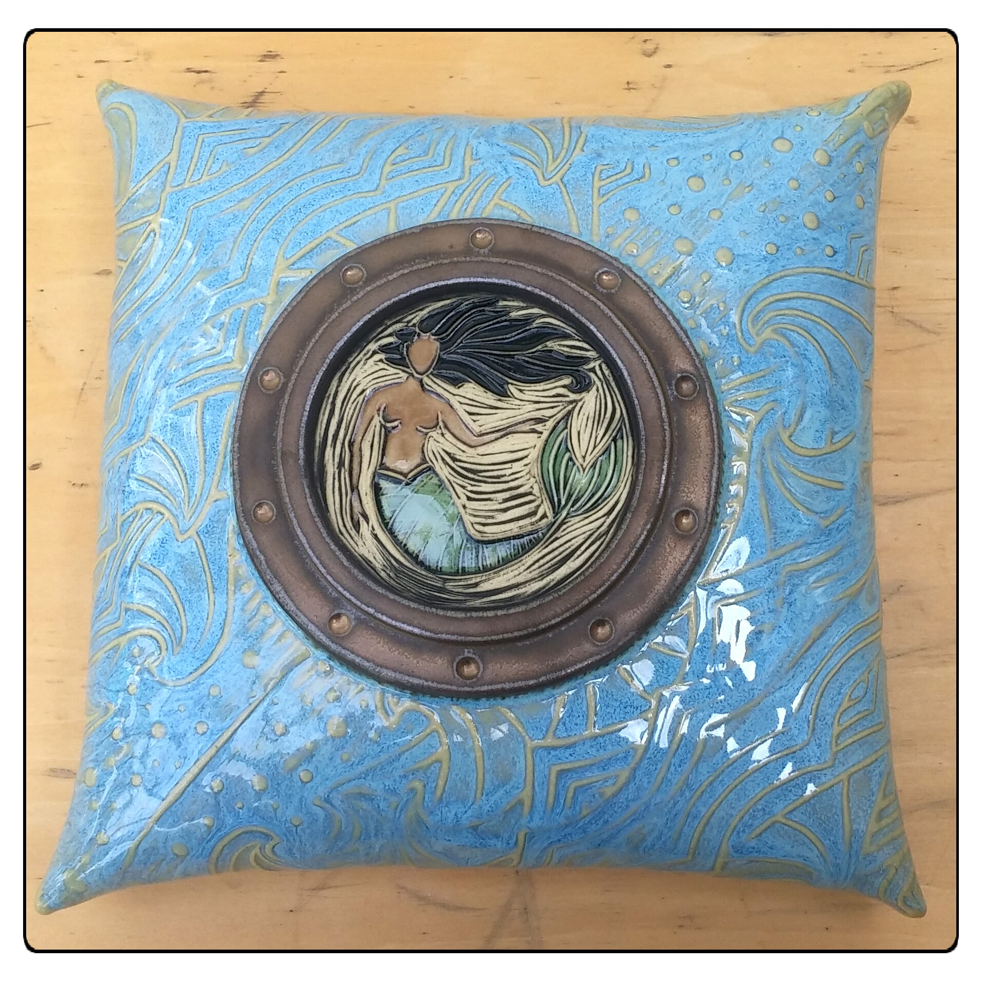 Porthole Mermaid Pillow