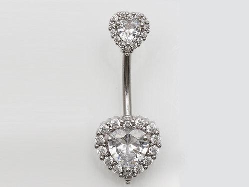 """Bauchnabelpiercing """"Crystall Heart"""" mit SWAROVSKI® Kristallen"""