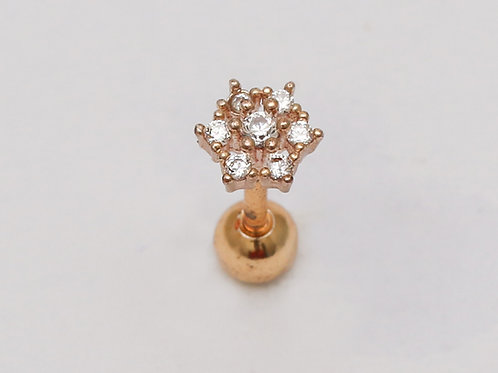 """Ohrpiercing """"Gold Flower"""" mit SWAROVSKI® Kristallen"""
