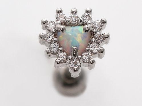 """Ohrpiercing """"Opal Heart"""" Opalstein mit SWAROVSKI® Kristallen"""