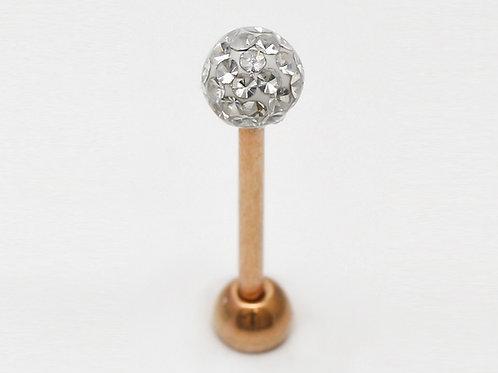 Zungen Piercing Rosegold mit SWAROVSKI® Kristallen
