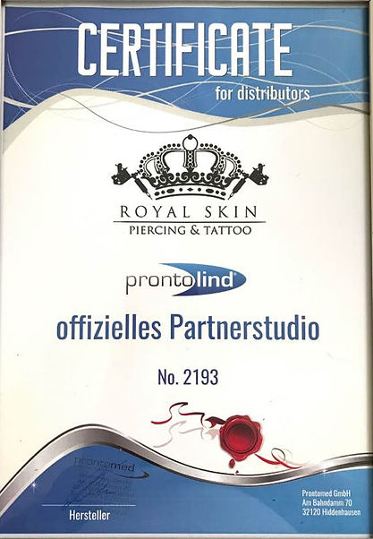 Zertifikat Royal Skin Tattoo und Piercin