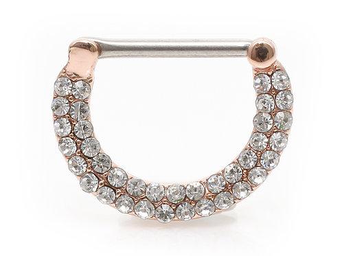 """Brustpiercing roségold """"Luxury Circle"""" mit SWAROVSKI® Kristallen"""
