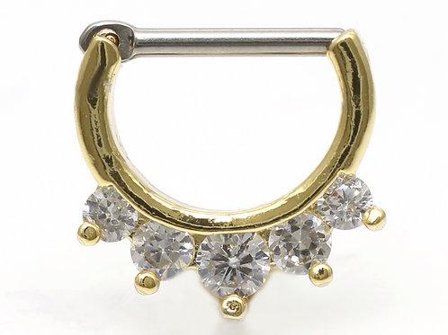 """Septum / Daithpiercing """"Five Crystalls"""" Gold mit SWAROVSKI® Kristallen"""