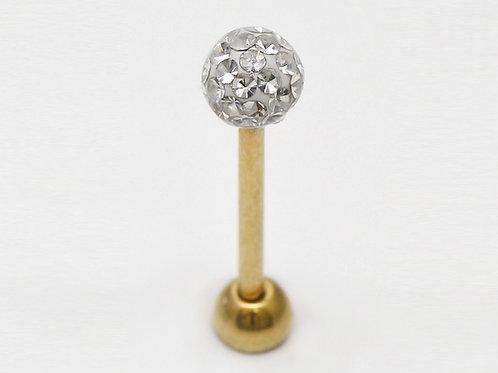 Zungen Piercing Gold mit SWAROVSKI® Kristallen