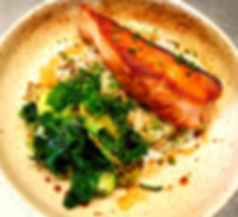 Pan Seared Salmon with Spring onion Rice