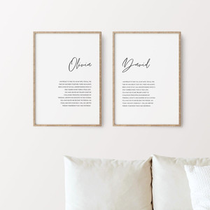 His & Her's Wedding Vow Prints