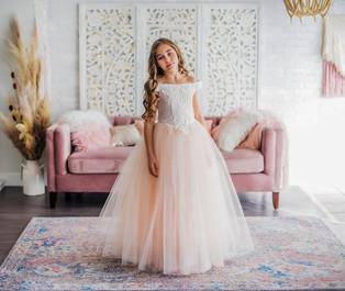 Tulle Flower Girl Dress Pink Off the Shoulder