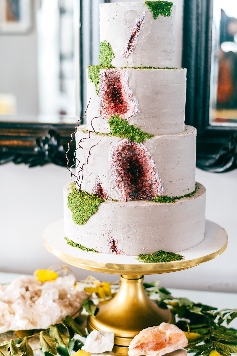 Dark & Moody Post-Apocalyptic Wedding Concrete and Geode Wedding Cake