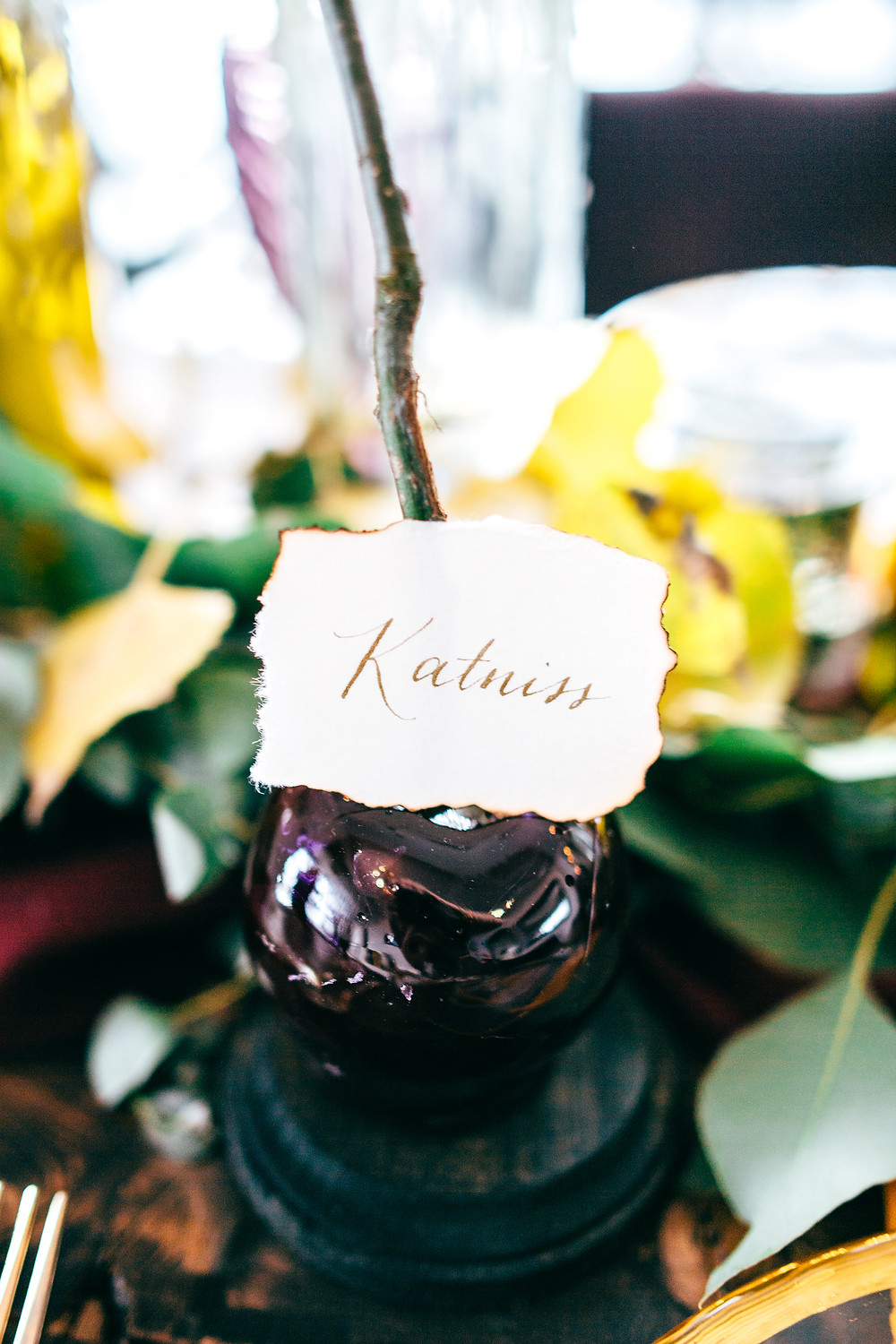 Dark & Moody Post-Apocalyptic Wedding Candy Apple and Calligraphy Place Cards