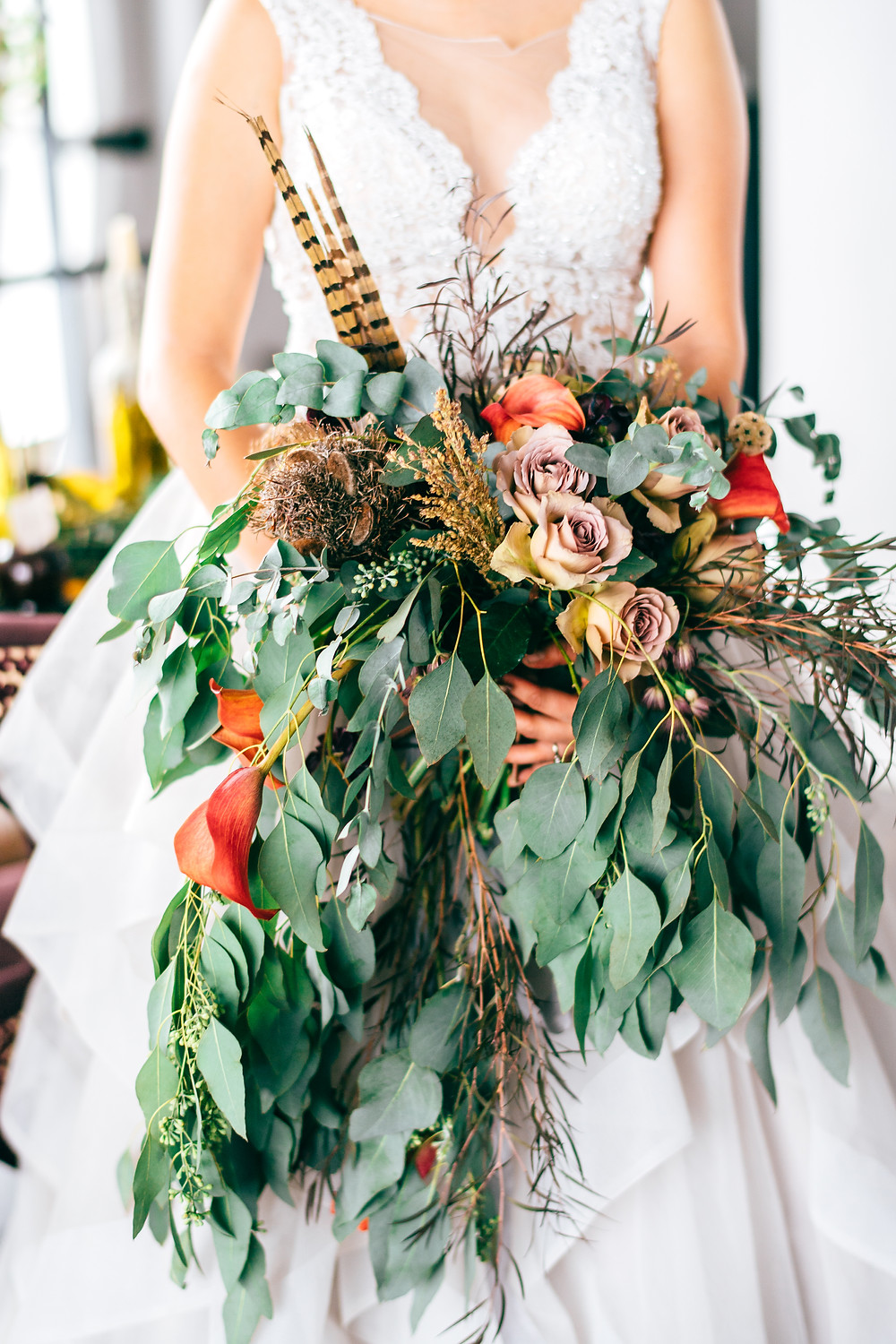 Gothic & Romantic Fall Wedding Non-Traditional Unique Feather Bouquet