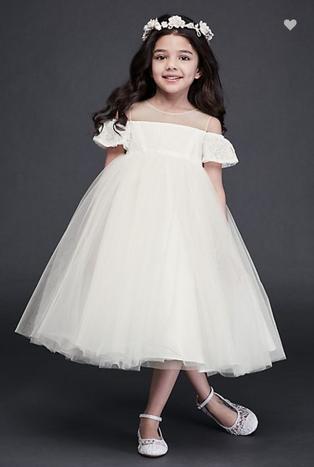 White Off-the-shoulder flower girl dress
