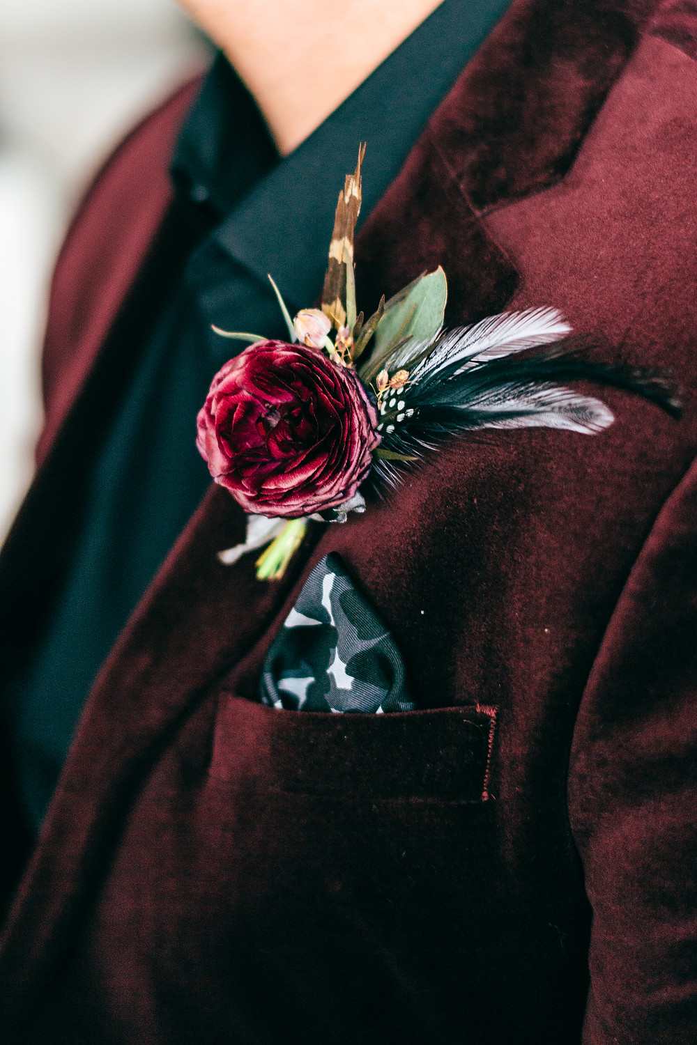 Gothic & Romantic Fall Wedding Feather Unique Boutonniere