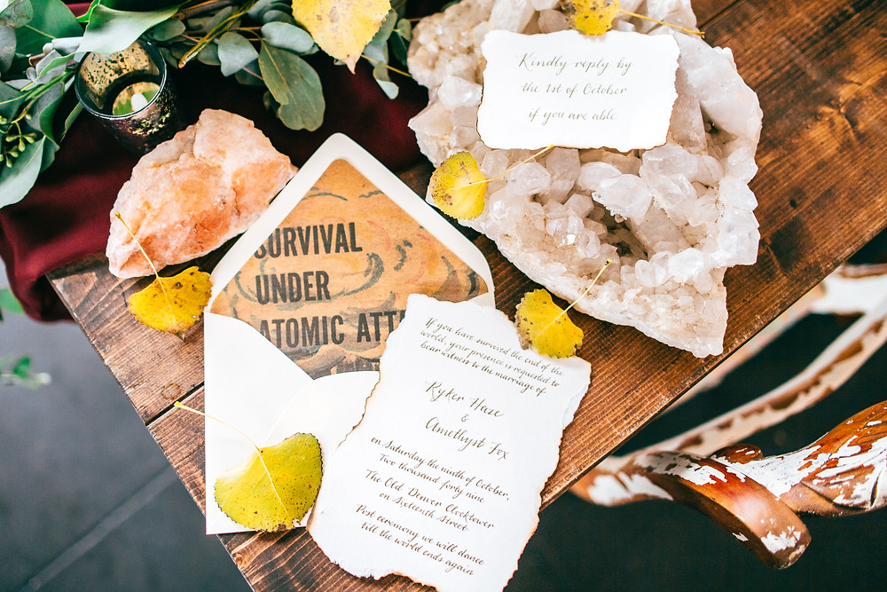 Dark & Moody Post-Apocalyptic Wedding Unique Envelope Liners and Stationery