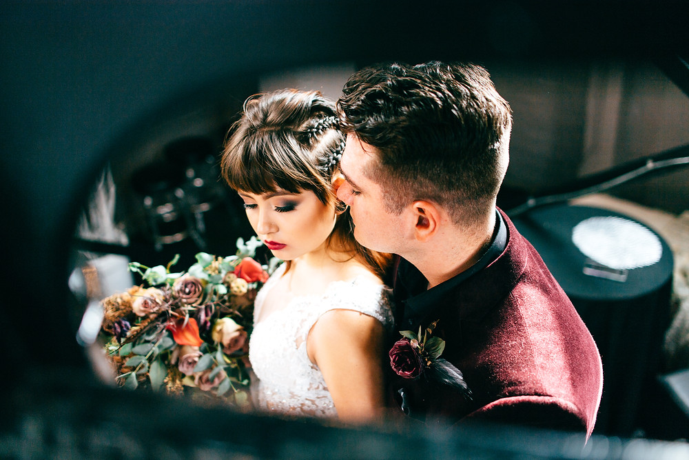 Gothic & Romantic Fall Wedding Spiral Staircase Wedding Photography