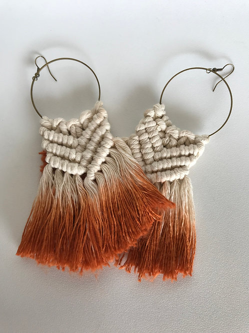 SICADIA Rust Ombre Macrame Hoop Earrings