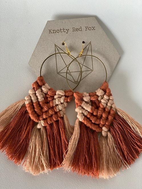 SICADIA Rust + Blush Macrame Hoop Earrings