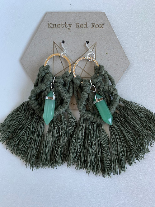 LEORA Sterling Silver Green Aventurine Macrame Earrings | JUNIPER |