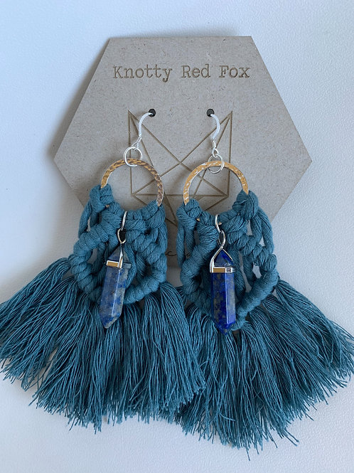LEORA Sterling Silver Lapis Lazuli Macrame Earrings | RAIN |