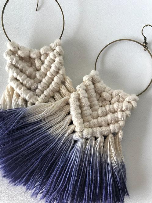SICADIA Indigo Ombre Macrame Hoop Earrings